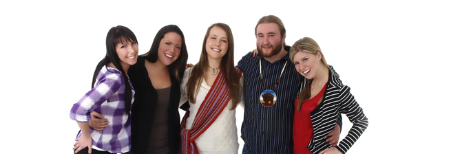 Infinite Reach Banner showing young Métis people