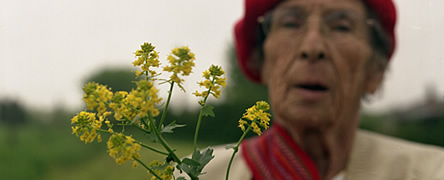 Marion Larkman with flowers
