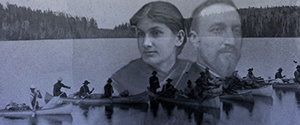 two canoes with passengers rowing along water, with a semi-transparent woman and man in the foreground