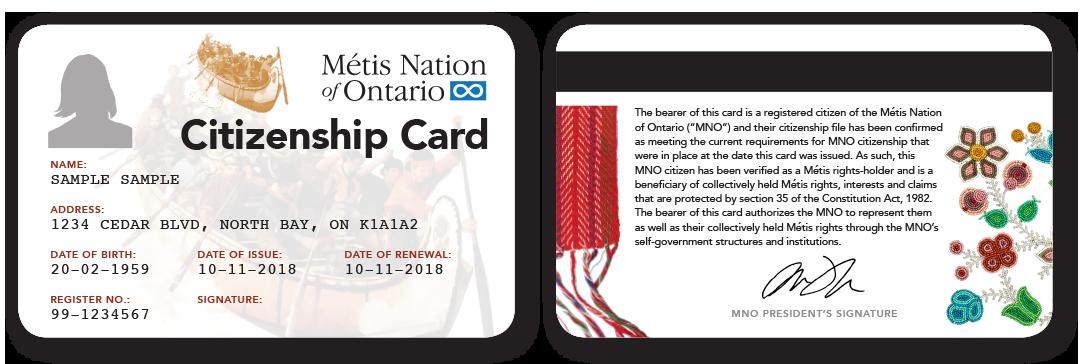 Sample MNO Citizenship Card